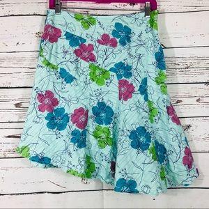 Billabong Asymmetrical Floral Cotton Skirt Blue 7